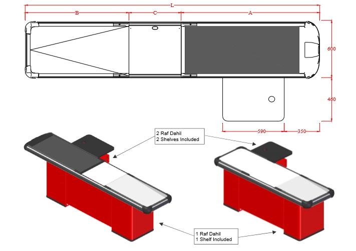 نقشه اتوکدی چک آوت - میز صندوق فروشگاهی